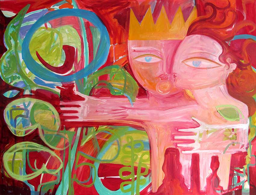 Painting-man-woman-red-holding-OPT
